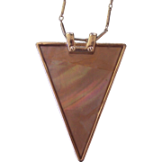 Modernist Mother of Pearl Lucite Triangular Pendant Necklace Gold tone