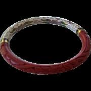 Vintage Chinese Cinnabar and Cloisonne Bangle Bracelet