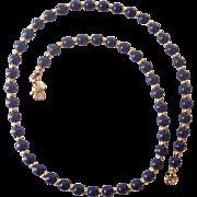 Monet Faux Blue Lapis & Gold tone Bead Necklace