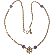 Goldette Amethyst Color Bezel Set Necklace Gold tone