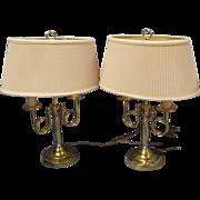 SALE Pr Brass Double Horn Bouillotte Table Lamps