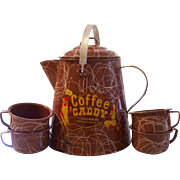 Large Enamel Ware Coffee Caddy Pot with 4 Mugs