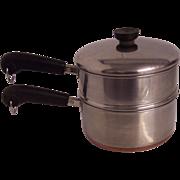 Revere 2 Qt Copper Clad Double Boiler Pot 3 pc