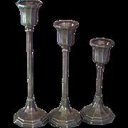 Set of 3 Art Deco Sheffield Silver Co Silver Plate Candlesticks