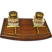 SALE Vintage Wood & Brass Inlaid Double Inkwell English