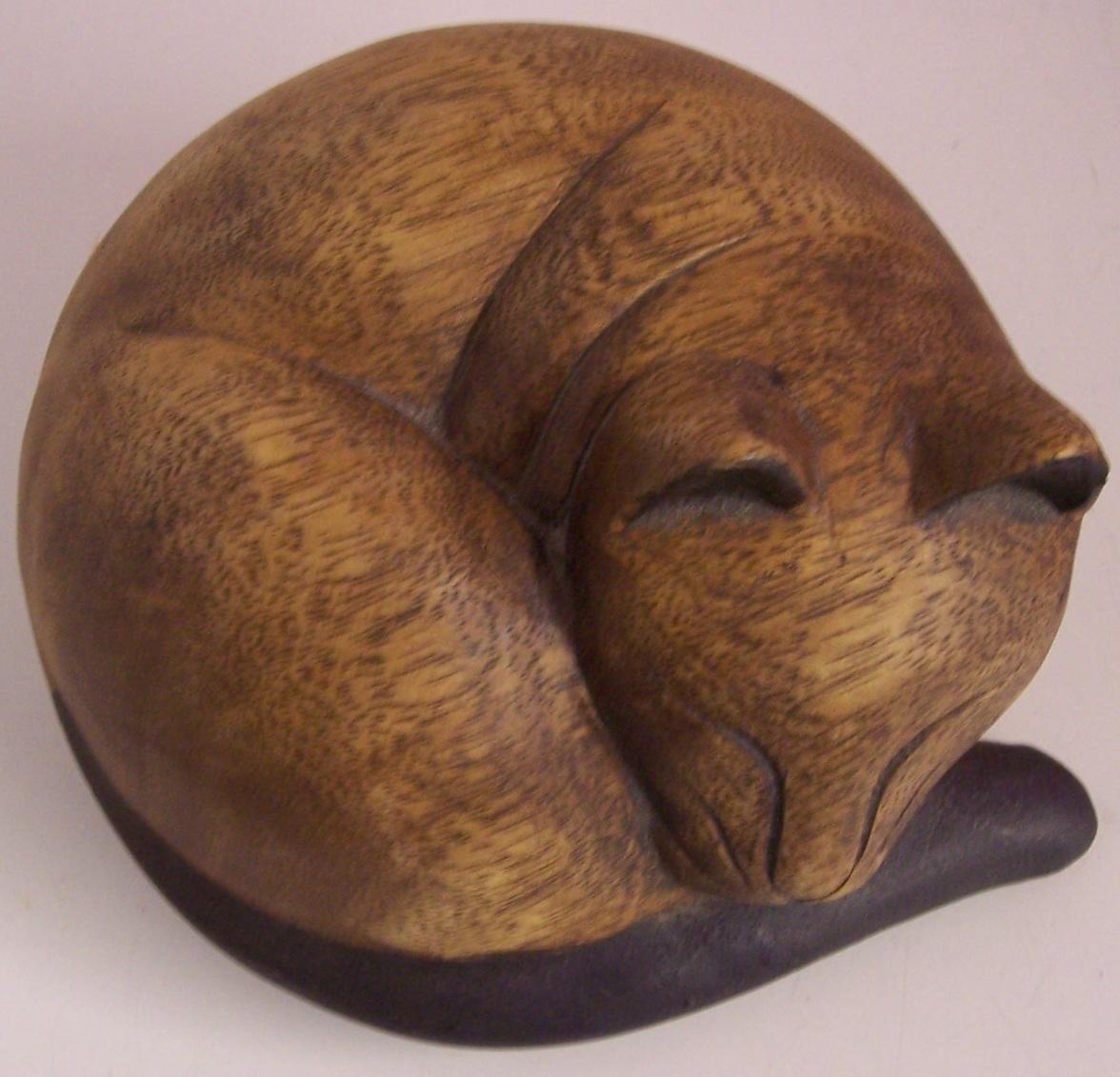Vintage Wood Carved Sleeping Cat Sculpture From Modseller