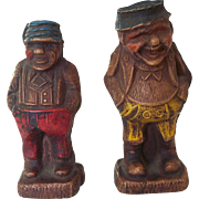 2 Small Bavarian Jolly Big Belly Men Carved Wood Black Forest