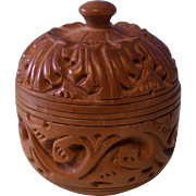SALE PENDING Small Carved Wooden Round Trinket Box