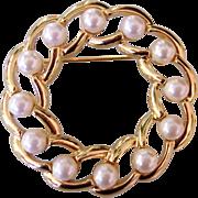 Vintage Napier Faux Pearl Gold tone Circle Pin