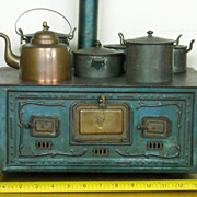 SALE RARE Antique MARKLIN Toy Doll Stove Complete with Pots And Kettle
