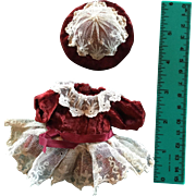 SALE PENDING Tiny Vintage Velvet Dress and Hat for an All Bisque Doll