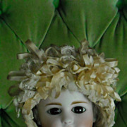 REDUCED Very Fancy Antique Lace Doll Bonnet