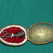 REDUCED Antique sewing kit, scissors and thimble in an egg for your French Fashion or Bebe Dol