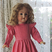 SOLD Beautiful Rose Polished Cotton Dress for Large Bisque