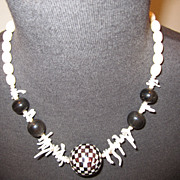 SALE Vintage White Coral & Mother of Pearl Organic Necklace
