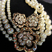 SALE Magnificent Swarovski Triple Strand faux Pearl Necklace with Matching Earrings (marked SA