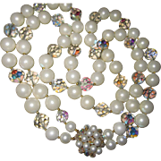 SALE Fabulous Double Strand Crystal & Pearl Necklace Statement Piece