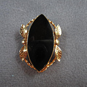 "Signed ""Catamore"" Classic Onyx Gold filled Pin with Garland"