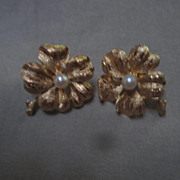 "SALE Fabulous ""Francois""  Cultured Pearl Four Leaf Clover Signed Earrings"