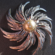 SALE Stunning Demi Parure Silver Swirl Pin & Earrings with fx Pearl signed