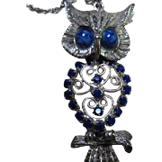 SALE Stunning Vintage Articulated Owl Blue Crystal Pendant on Chain