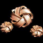 SALE Madmen Mid Century  Pink Pearlized Enameled Pin & Earrings Set
