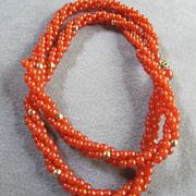 "SALE Trifari Vintage Triple Strand Carnelian Lucite  24"" Necklace"