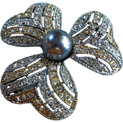 SALE Beautiful Gold/Silver Pin with large glass Black Pearl & Austrian Crystals