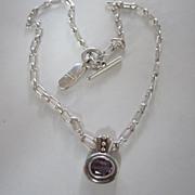 SALE Monet Vintage Amethyst glass Pendant on Square Link Chain signed