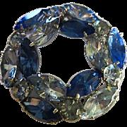 SALE Stunning Vintage Blues Austrian Crystal Circle Pin