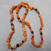 SALE Lovely Genuine Baltic Honey Amber & Onyx Beads Necklace