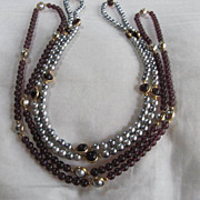 SALE Fabulous Vintage Set of Matching Gray faux Pearls & Amethyst Necklaces