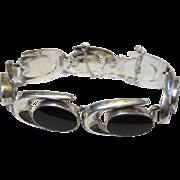 SALE Vintage Modernist Onyx Sterling Silver Bracelet Makers Marks