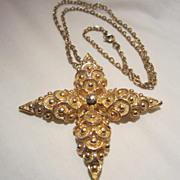SALE Fabulous Vintage Unique Textured Pendant with chain
