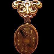 SALE Beautiful Rose and Yellow Gold Filled Art Nouveau Locket Watch Pin