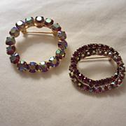 SALE 2 Wonderful Vintage Classic Austrian Aurora Borealis AB Crystal Pins