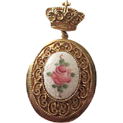 Gorgeous CORO Guilloche Rose Locket Brooch