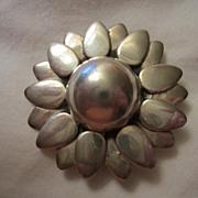 SALE Vintage Taxco Sterling Modernist Sunflower Pin Signed