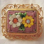 Lovely Vintage Mosaic Pin Filagree Frame Italy