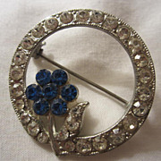 SALE Classic Vintage Circle Pin Sapphire & Diamond PASTE Crystals