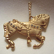 SALE Vintage Carousel Horse Pin ~ Come Ride the Merry go Round