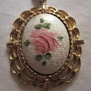 SALE Lovely Vintage Guilloche Rose Enamel Pendant
