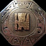 Peruvian Octagonal Pin signed 925 & 18K