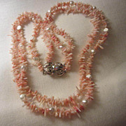 SALE Fabulous Angel Skin Coral & Genuine Pearls Double Strand