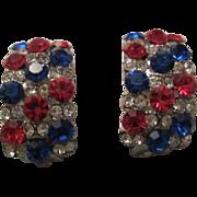 SALE Gorgeous Red White & Blue Swarovski Crystal Earrings Patriotic
