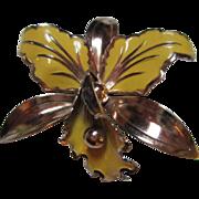SALE Beautiful Enamel Orchid Flower Pin