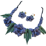 SALE Gorgeous Violet Flower Necklace & Earrings Set Artisan Piece