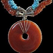SALE Fabulous Vintage Lucite Disc Turquoise Carnelian (faux) Necklace