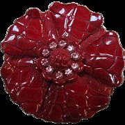 Vintage Textured Bright Red Enamel Flower Power Pin Rhinestone Center
