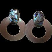 Gorgeous Abalone Mother of Pearl Door Knocker Earrings